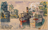 Tugboat and Barge in Samois by Paul Signac - Landscape Drawings from Hermitage Museum