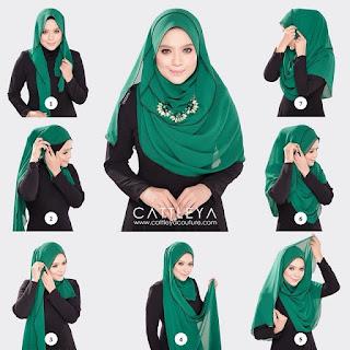 Contoh Tutorial Jilbab Segi Empat Terbaru