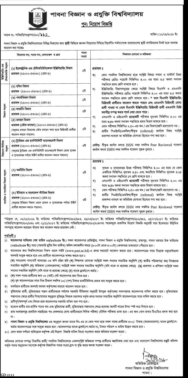 Pabna University of Science & Technology (PUST) Job Apply Instruction, Educational Qualification, Salary, Application Fee, Age and Other Information