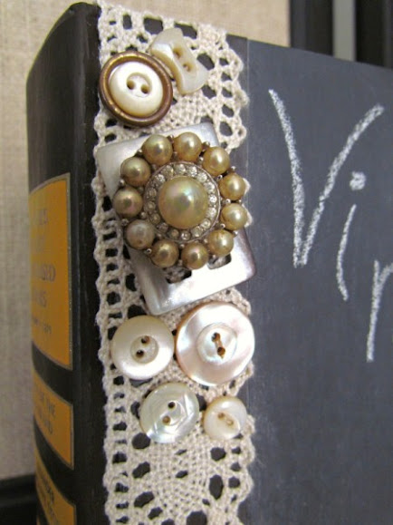use lace and buttons to embellish a chalkboard book