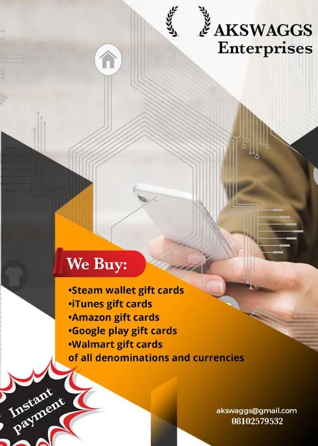 Sell your Gift cards of all denominations and currencies to us