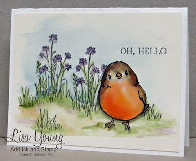 Stampin' Up! Honeycomb Happiness. watercolored Robin. Handmade card by Lisa Young, Add Ink and Stamp
