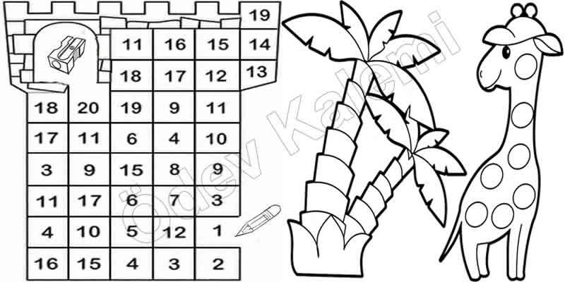 1 Sinif Matematik Dersi Ritmik Sayma Yapiyorum Bulmaca Boyama
