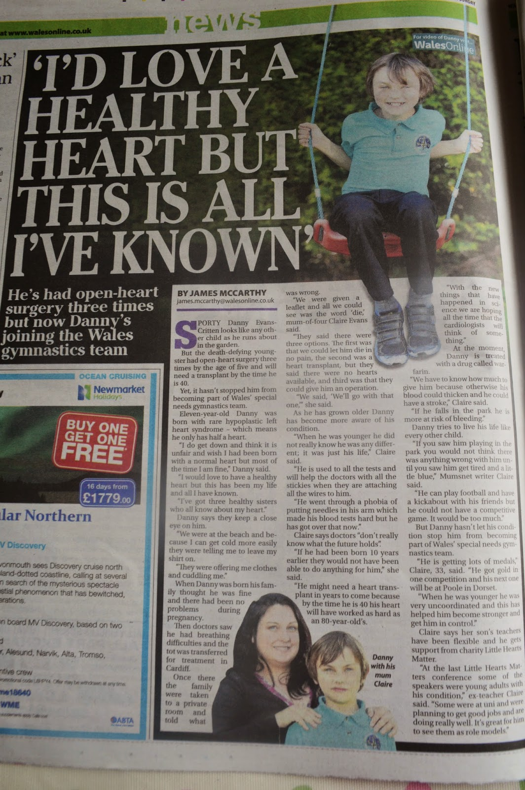 Danny HLHS Hypoplastic left Heart Syndrome Little Hearts Matter LHM Wales on Sunday