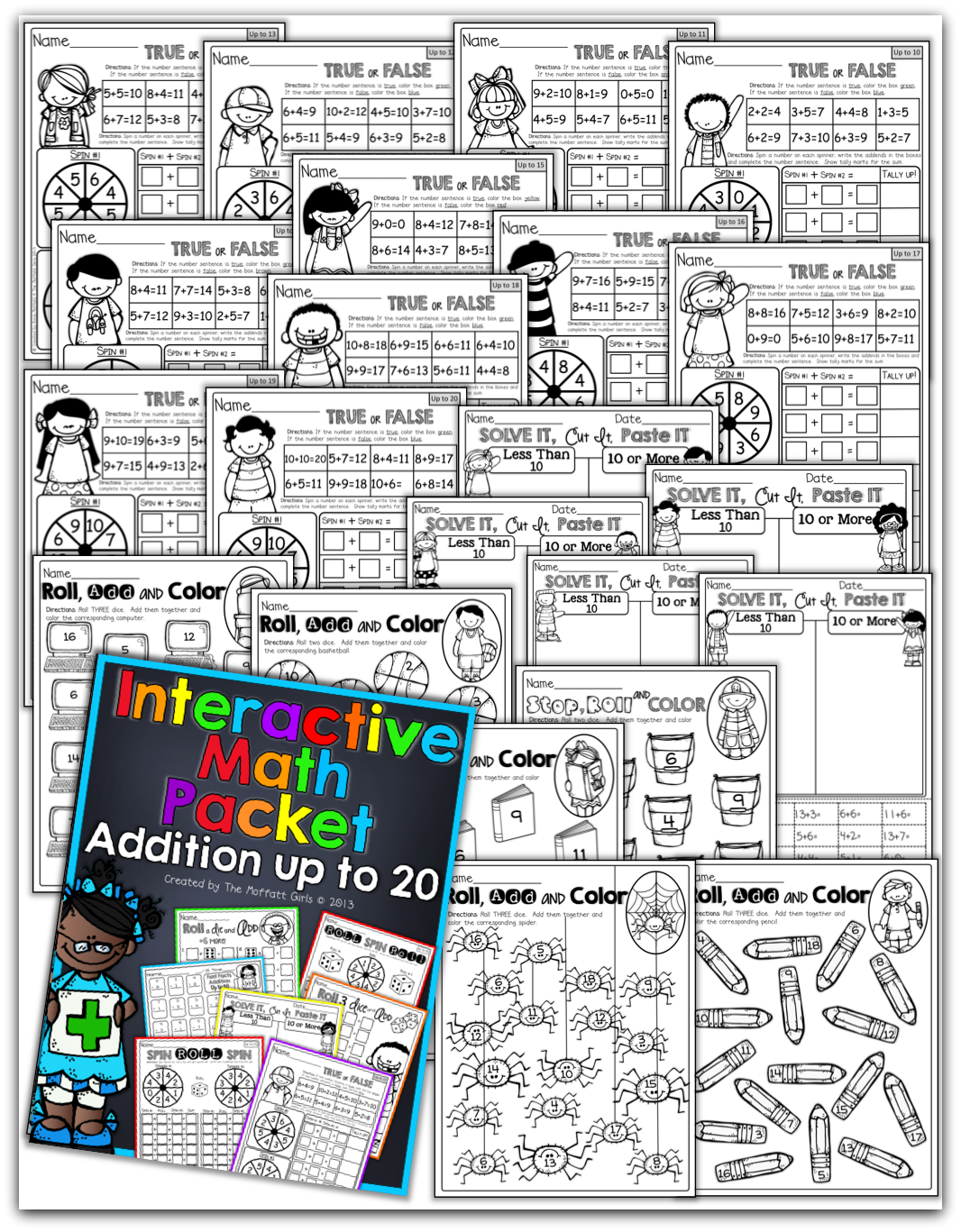 Cut Paste Worksheet Addition To 20