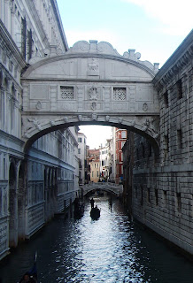 The Bridge of Sighs links the Doge's Palace with the prison in which Casanova was locked up
