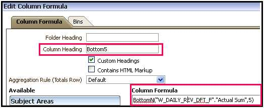 BOTTOMN FUNCTION IN OBIEE 11G