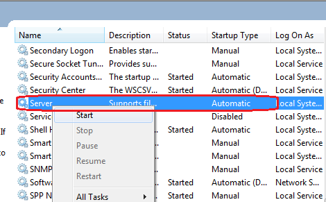 How to start server service on a Windows 8 computer
