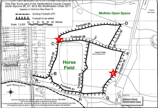 Map of the footpaths around Leach Fields
