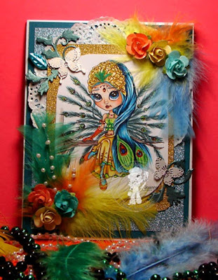 Mardi Gras Theme card by Colours and Cards with Peacock Etheral Enchantress