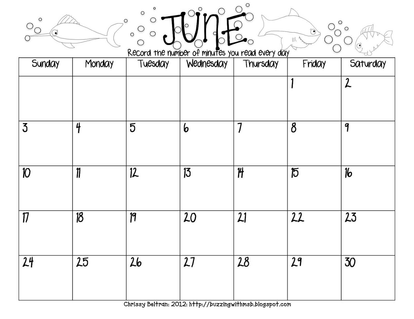 Blank Calendar Summer : Buzzing with ms b summer reading log freebie