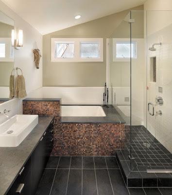 แบบห้องน้ำขนาดเล็กพื้นสีดำ