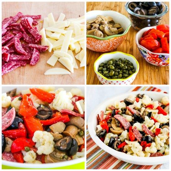 Low-Carb Marinated Cauliflower Antipasto Salad found on KalynsKitchen.com