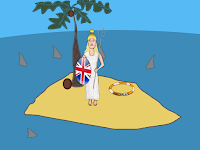 Britannia surrounded by sharks, a cartoon by Wendy Cockcroft for On t'Internet