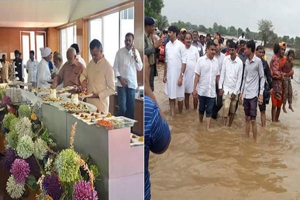 गुजरात की जनता को बाढ़ के मजधार में छोड़ बेंगलुरु में मस्ती कर रही है कांग्रेस, BJP