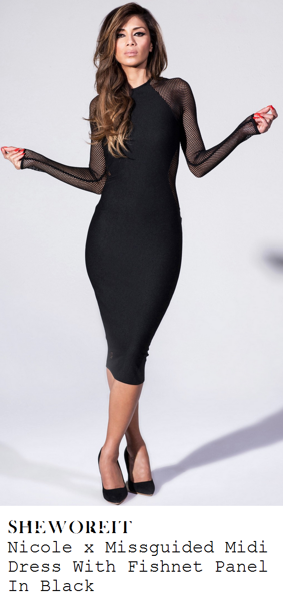 37e99a6471b8 Nicole Scherzinger's Nicole x Missguided Black Jersey & Sheer Fishnet Mesh  Long Sleeve Bodycon Midi Dress With Cut Out Fishnet Detail To Waist