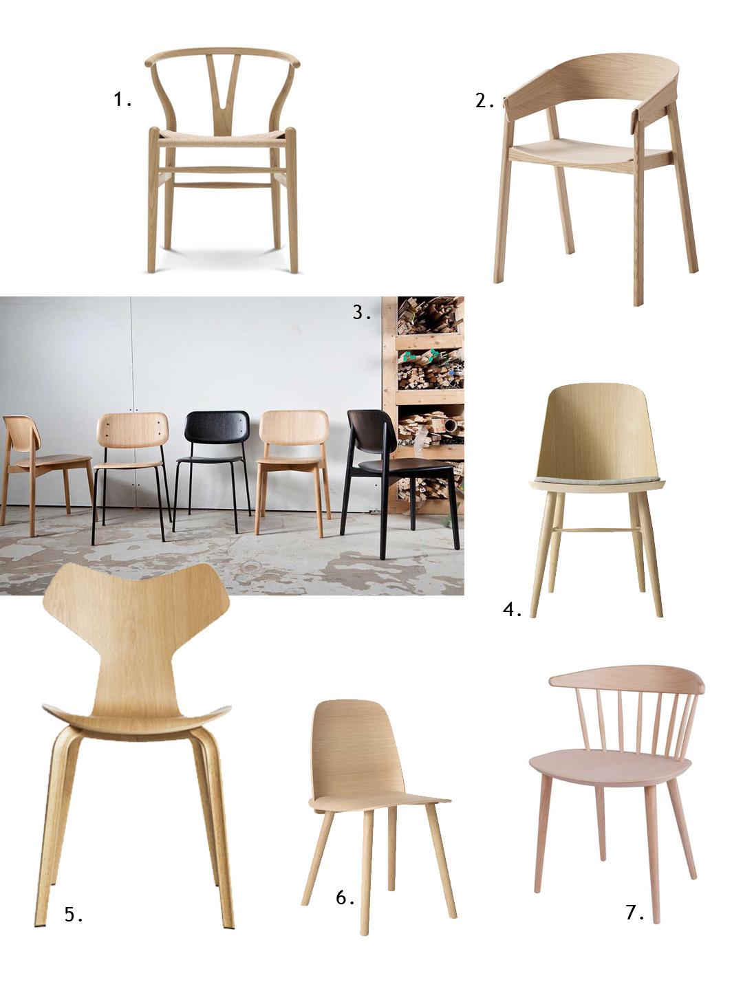 7 Wooden designer chairs, Wegner, wishbone, muuto, hay, carl hansen, arne jacobsen