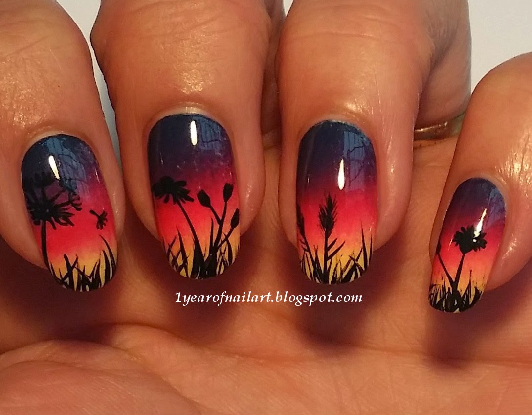 halloween picture background ideas - 365 days of nail art Sunset nails