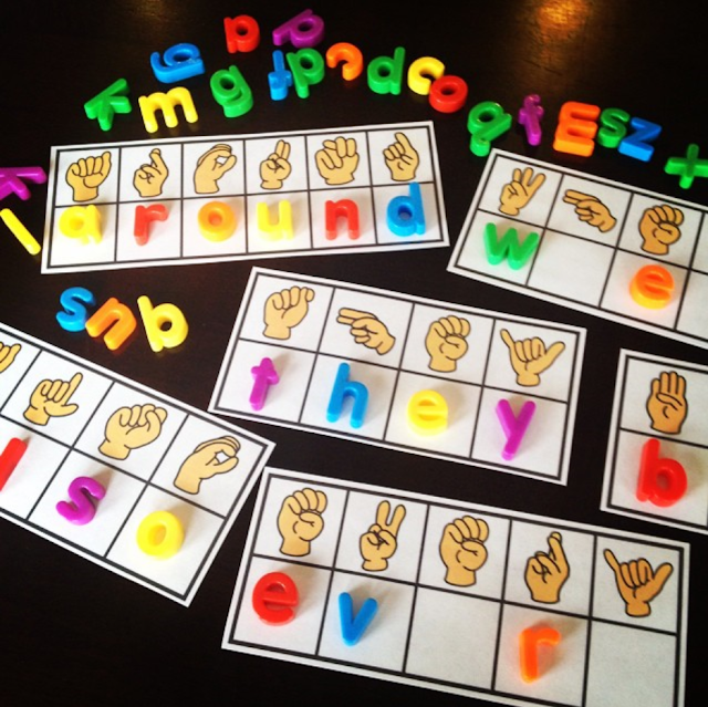 Super fun sight words practice ideas (this one has kids look at the letter in American Sign Language - reference chart included - to figure out the secret sight word)