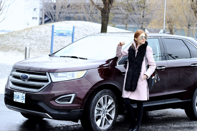 Ford Edge- Blogger Winter Style- Club Monaco pink coat