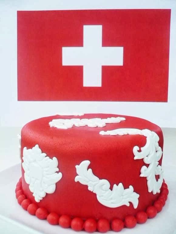 Barok taart in Zwitserse kleuren