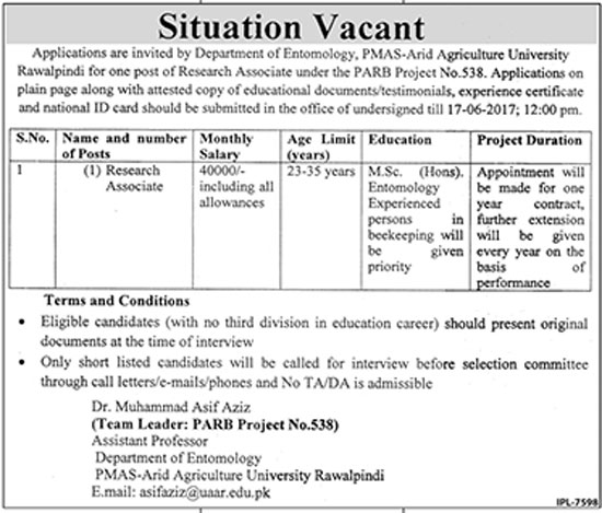 Jobs In University Of Agriculture Rawalpindi 10 June 2017