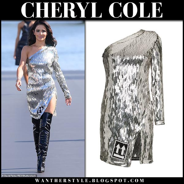 Cheryl Cole in silver metallic mini dress off-white paris fashion week september 30