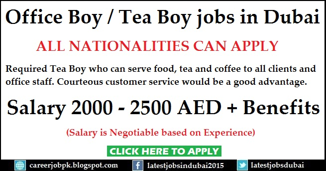 Office Tea Boy jobs in Dubai