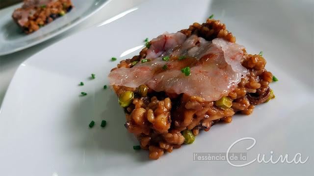 Paella Arròs, carpacció Gamba, arroz, l'essencia de la cuina, blog de cuina de la sonia