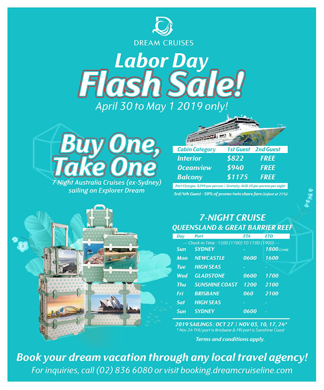 Dream Cruise Labor Day BUY ONE, TAKE ONE Promo!
