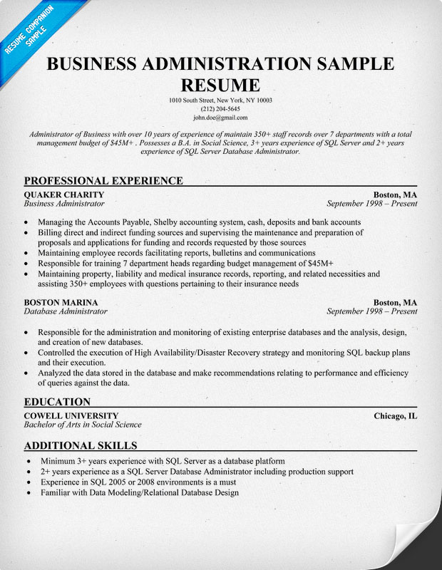 Business administration resume samples sample resumes for Resume samples for it company