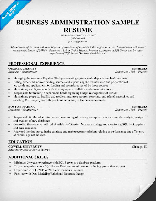 Business Administration Resume Samples Sample Resumes - business administration sample resume