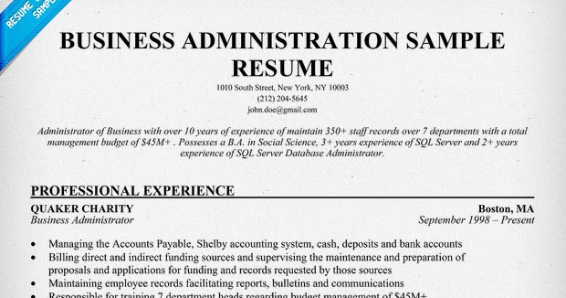 Sample Resumes  Business Administration Resume