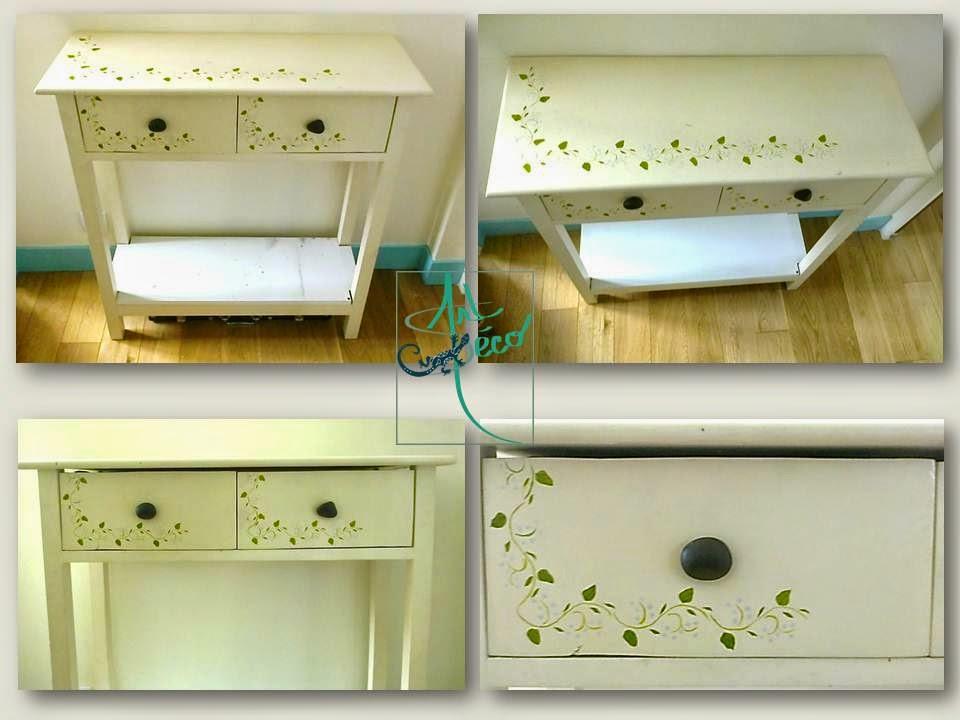meuble peint à la main fleurs art-deco salamandre