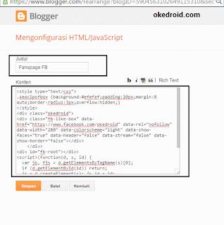 Mengkonfigurasi HTML/Javascript Blogger