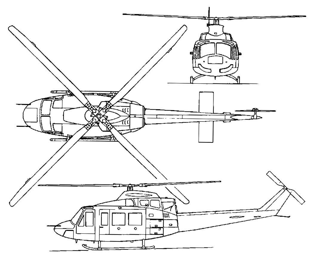 Bell 412 Helicopter Sketch Coloring Page