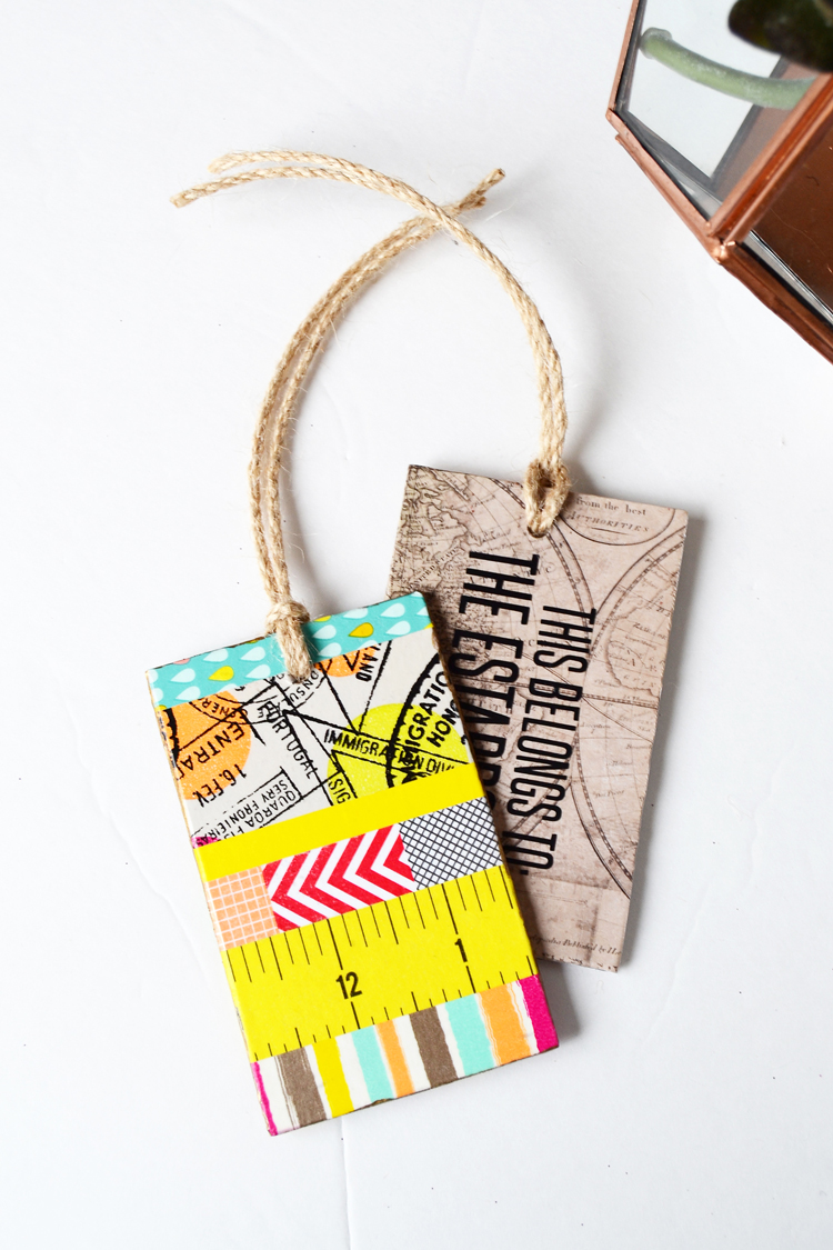 washi tape luggage tags