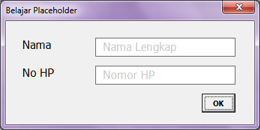 Membuat Placeholder di TextBox VBA Excel