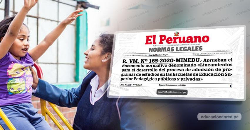 MINEDU aprueba lineamientos para el proceso de admisión en escuelas pedagógicas (R. VM. Nº 165-2020-MINEDU)
