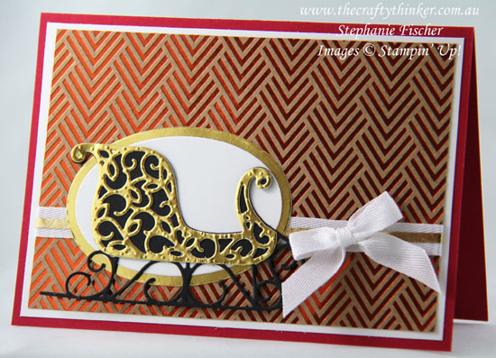 #christmascard, #cardmaking, #stampinup, Santa's Sleigh, Foil Frenzy, Christmas Card, Xmas, #thecraftythinker, Stampin' Up Australia Demonstrator, Stephanie Fischer, Sydney NSW