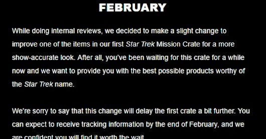 Star Trek Wolf-359 Mission Crate Delayed again
