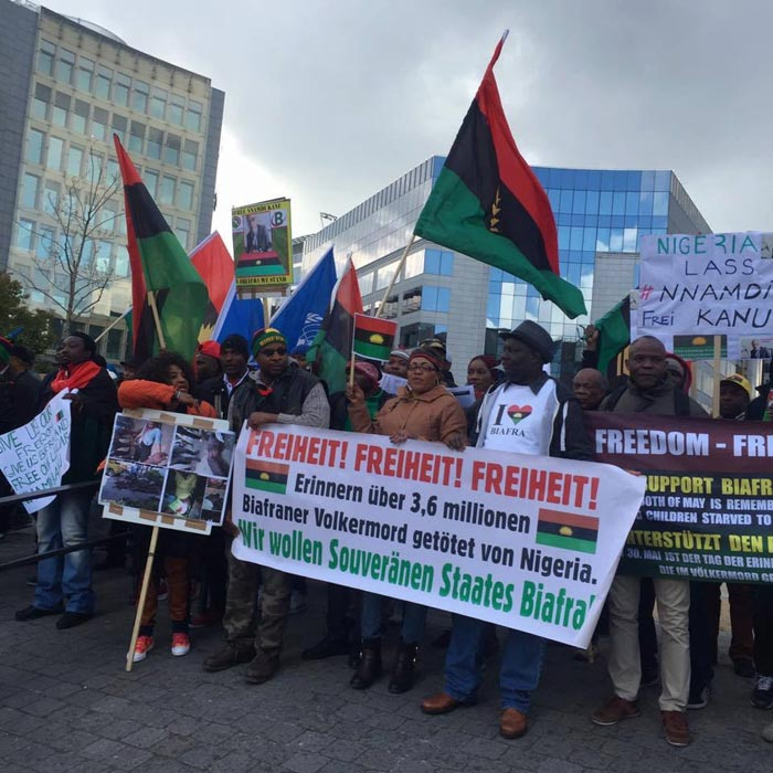Nnamdi Kanu's Parents Joins Biafran Protest In Belgium