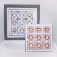 Geometric star fans stitching on card embroidery paper pricking pattern.