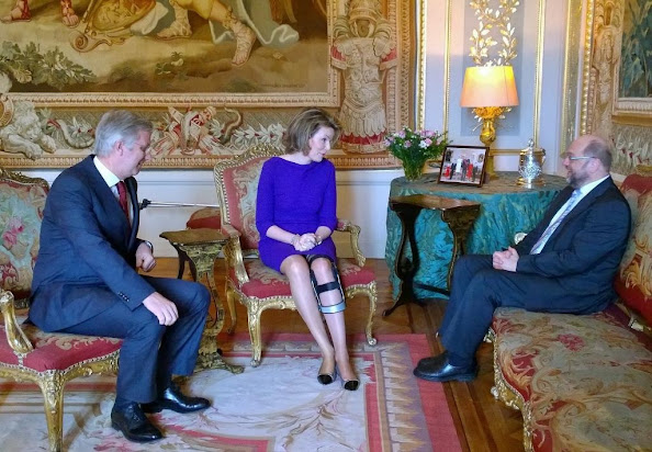 King Philippe, Martin Schulz and Queen Mathilde - Queen Mathilde Style