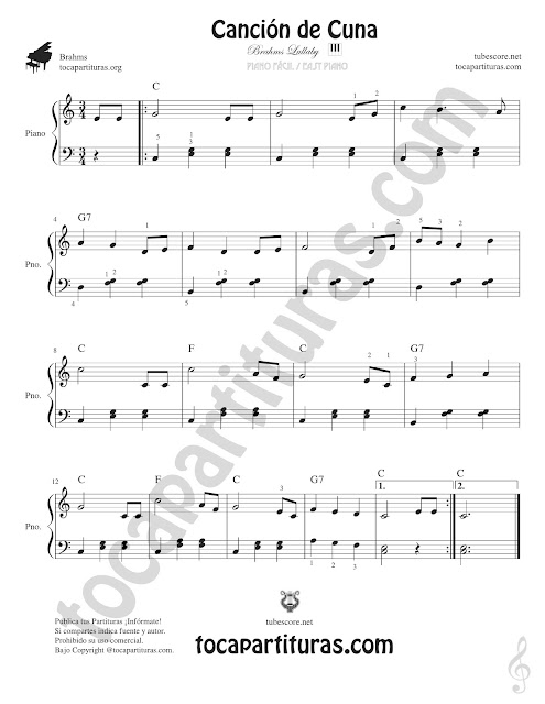 Brahms Lullaby Easy Sheet Music for Piano with Chords and numbers (fingering) Begginners