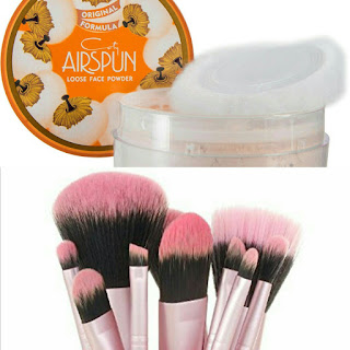 Coty Airspun loose face powder, Natural, Pueen 12 piece Brush set,