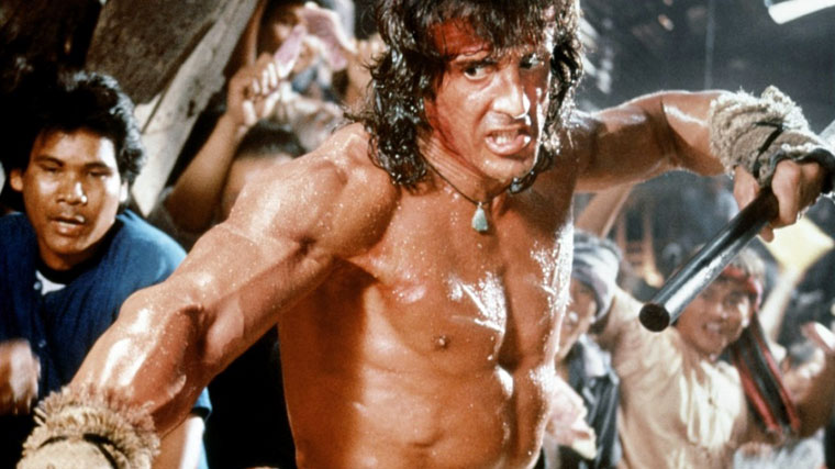 Sylvester Stallone in RAMBO III (1988). Quelle: Carolco Pictures
