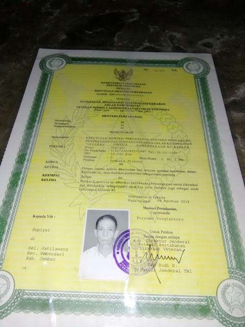 Dokumen Veteran Mbah Supiyar tahun 2014