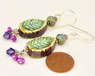 Other side of Long Pansy Earrings by BayMoonDesign