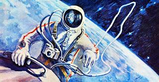 Un quadro di Leonov raffigurante la propria passeggiata spaziale, missione Voschod 2.